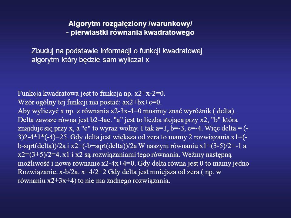 Algorytm rozgałęziony /warunkowy/ - pierwiastki równania kwadratowego