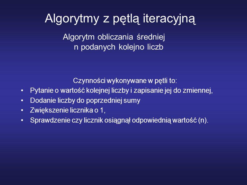 Algorytmy z pętlą iteracyjną