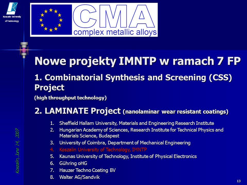 Nowe projekty IMNTP w ramach 7 FP