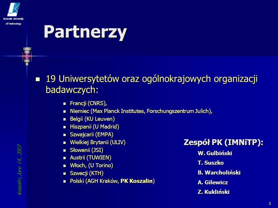 Partnerzy 19 Uniwersytetów oraz ogólnokrajowych organizacji badawczych: Francji (CNRS), Niemiec (Max Planck Institutes, Forschungszentrum Julich),