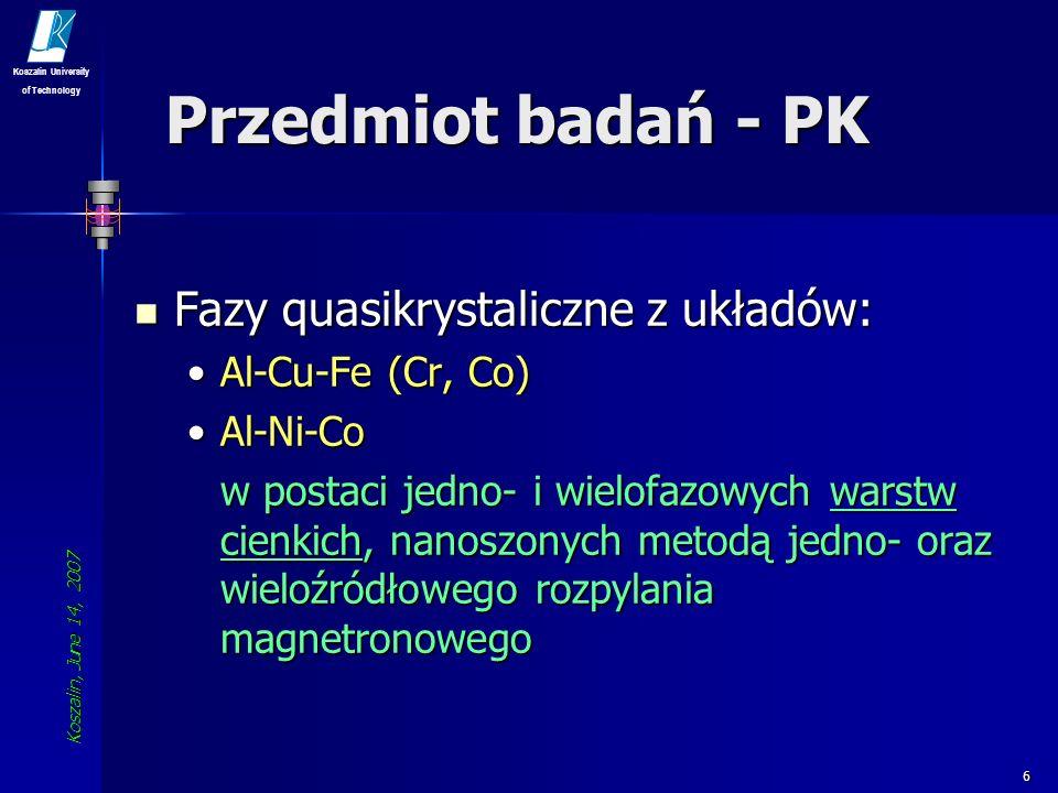 Przedmiot badań - PK Fazy quasikrystaliczne z układów: