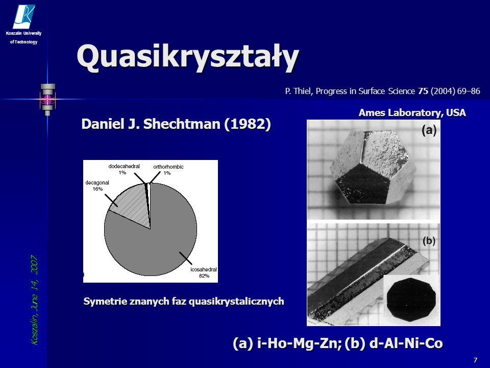Quasikryształy Daniel J. Shechtman (1982)