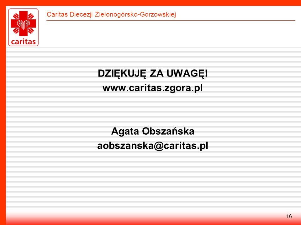 DZIĘKUJĘ ZA UWAGĘ! www.caritas.zgora.pl Agata Obszańska aobszanska@caritas.pl