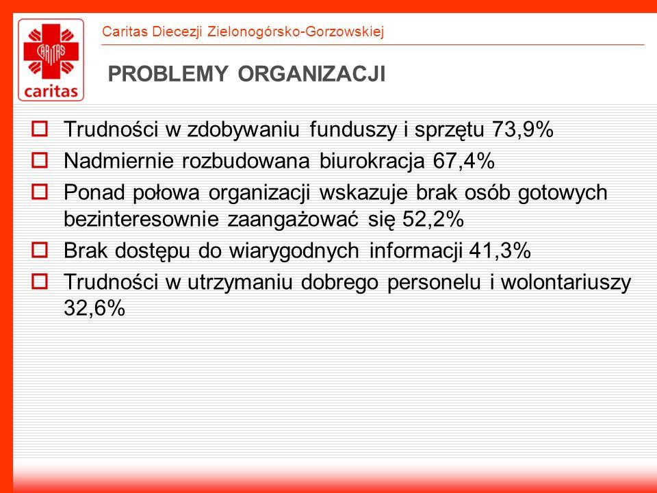 PROBLEMY ORGANIZACJI Trudności w zdobywaniu funduszy i sprzętu 73,9% Nadmiernie rozbudowana biurokracja 67,4%