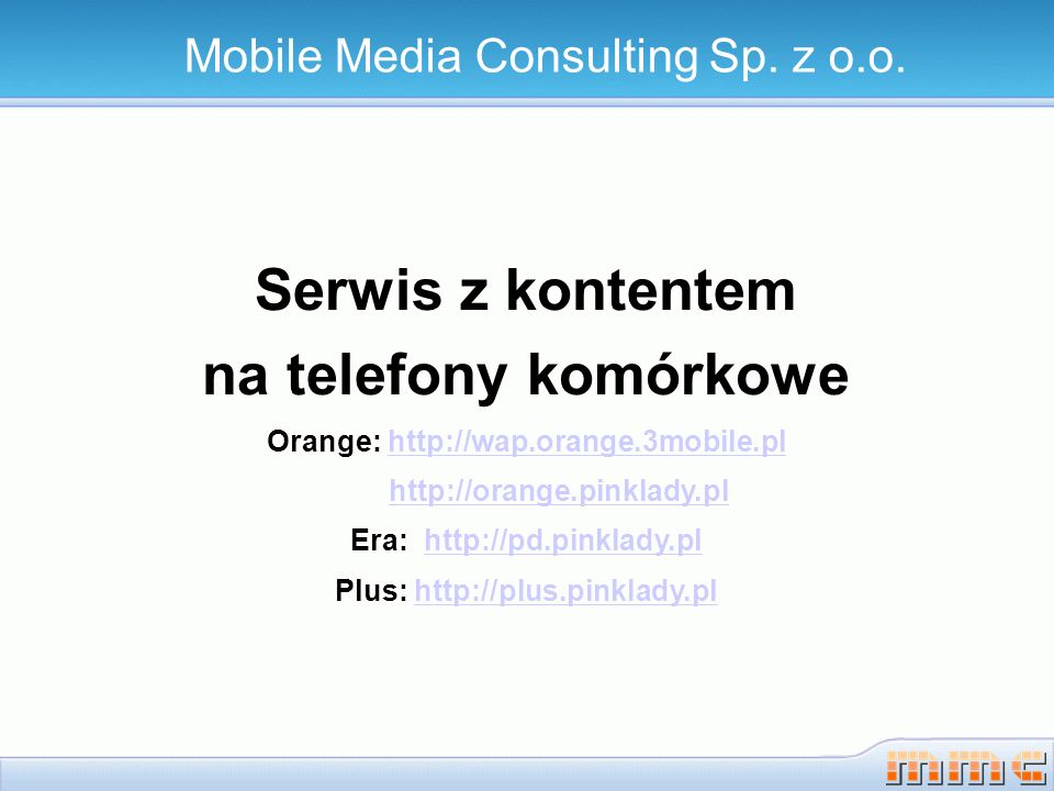 Serwis z kontentem na telefony komórkowe