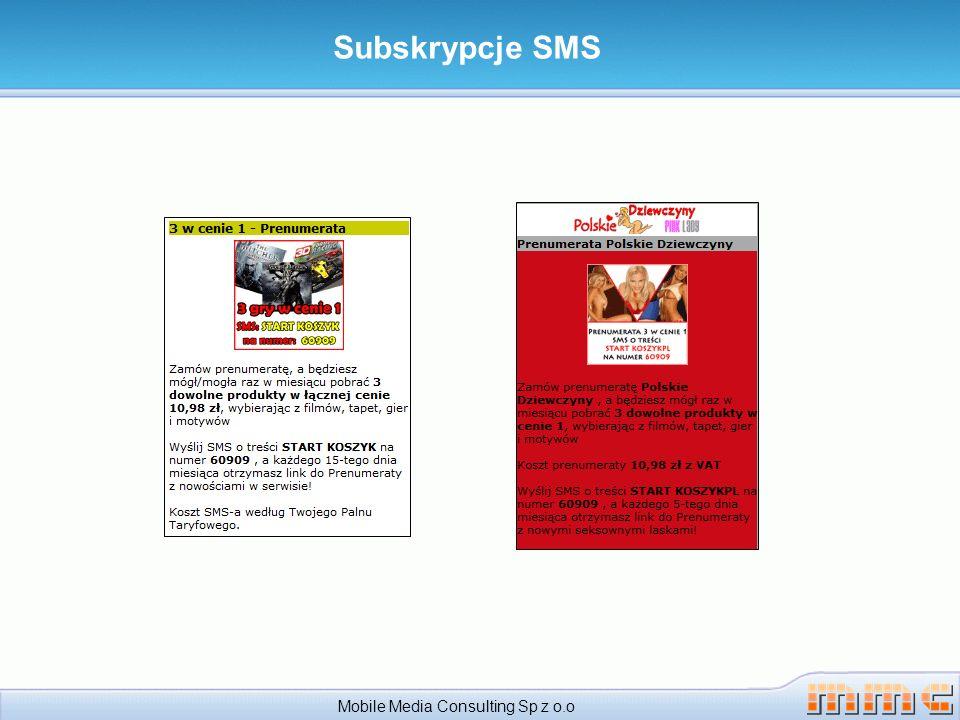 Subskrypcje SMS Mobile Media Consulting Sp z o.o