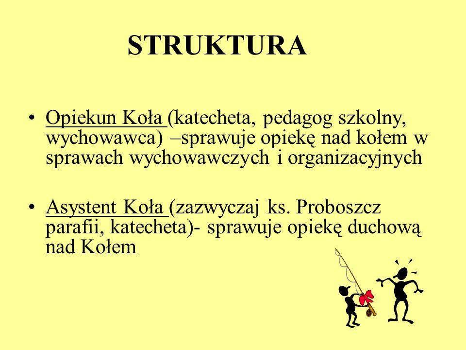STRUKTURA Opiekun Koła (katecheta, pedagog szkolny, wychowawca) –sprawuje opiekę nad kołem w sprawach wychowawczych i organizacyjnych.