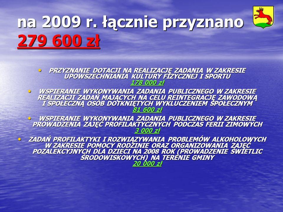 na 2009 r. łącznie przyznano 279 600 zł