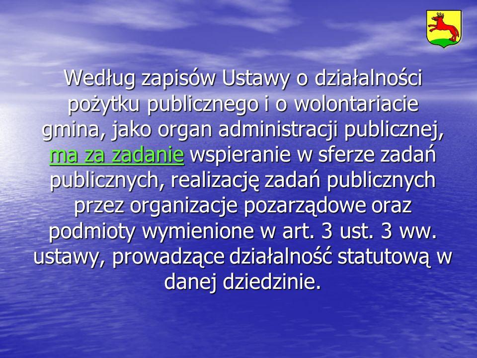 Według zapisów Ustawy o działalności pożytku publicznego i o wolontariacie gmina, jako organ administracji publicznej, ma za zadanie wspieranie w sferze zadań publicznych, realizację zadań publicznych przez organizacje pozarządowe oraz podmioty wymienione w art.