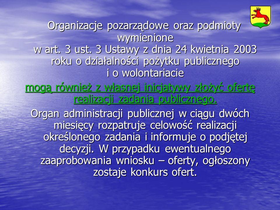 Organizacje pozarządowe oraz podmioty wymienione w art. 3 ust