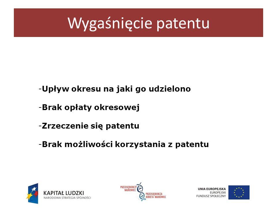 Wygaśnięcie patentu Upływ okresu na jaki go udzielono