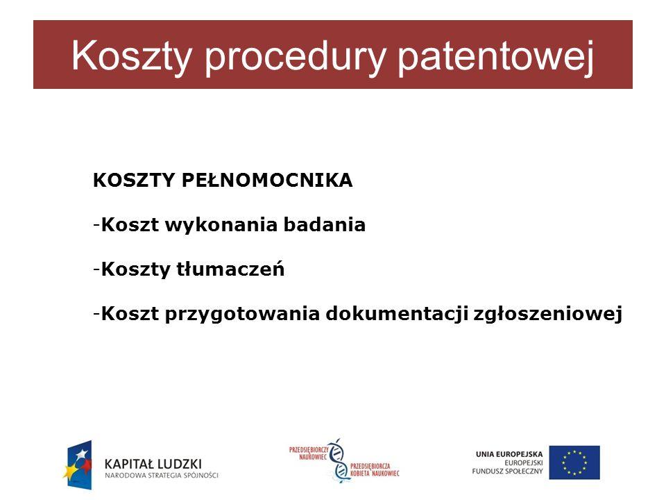 Koszty procedury patentowej