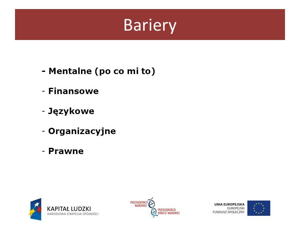 Bariery - Mentalne (po co mi to) Finansowe Językowe Organizacyjne
