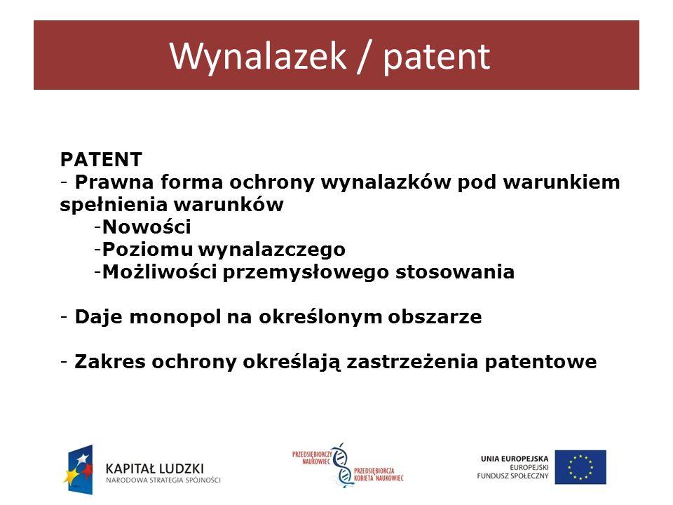 Wynalazek / patent PATENT