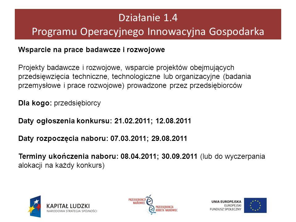 Działanie 1.4 Programu Operacyjnego Innowacyjna Gospodarka