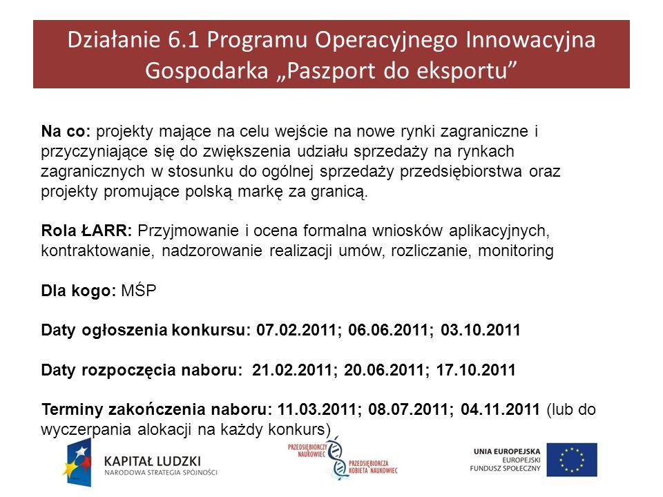"""Działanie 6.1 Programu Operacyjnego Innowacyjna Gospodarka """"Paszport do eksportu"""