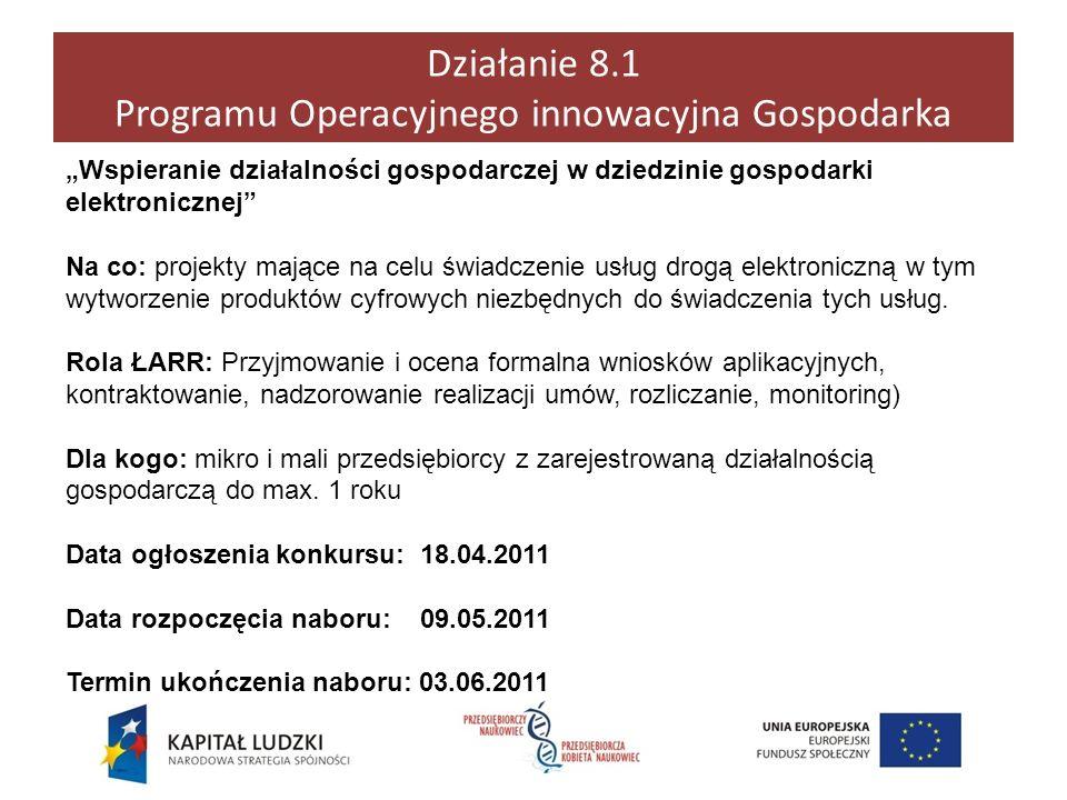 Działanie 8.1 Programu Operacyjnego innowacyjna Gospodarka