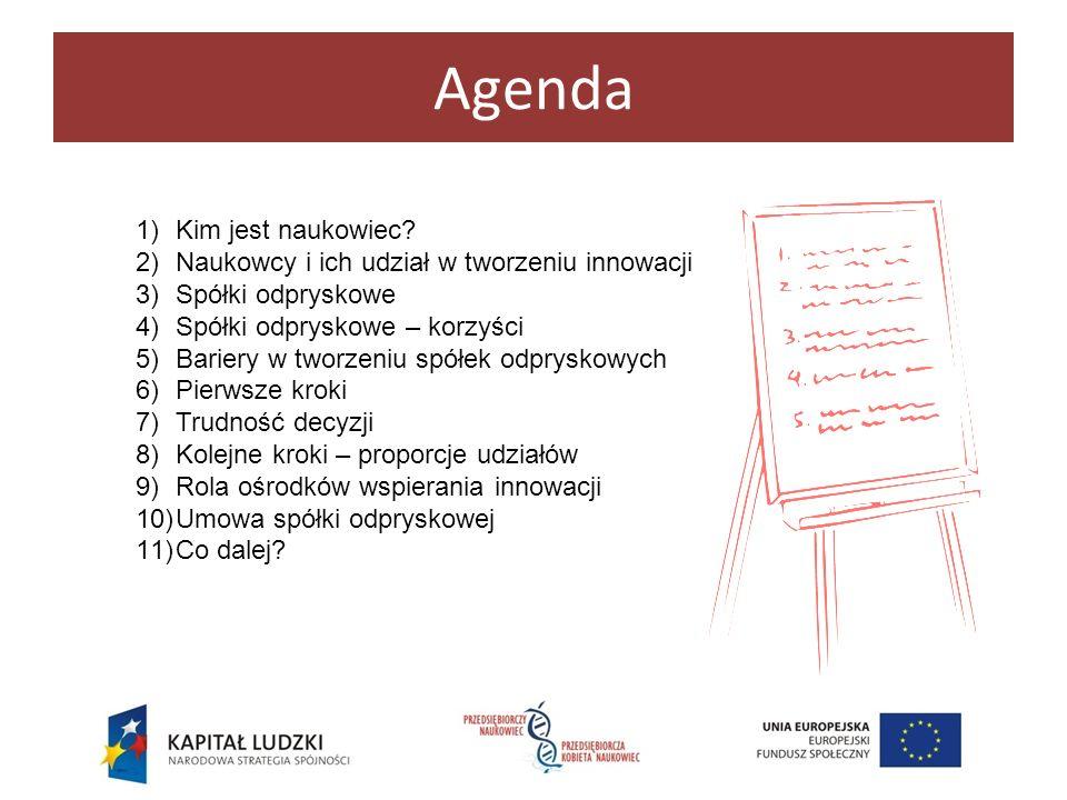 Agenda Kim jest naukowiec Naukowcy i ich udział w tworzeniu innowacji