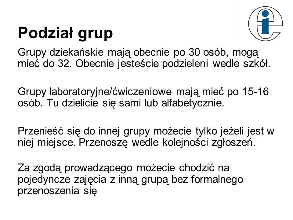 Podział grupGrupy dziekańskie mają obecnie po 30 osób, mogą mieć do 32. Obecnie jesteście podzieleni wedle szkół.