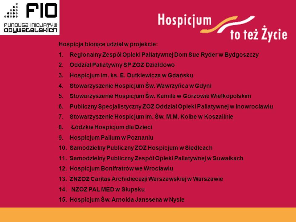 www.hospicja.pl Hospicja biorące udział w projekcie: