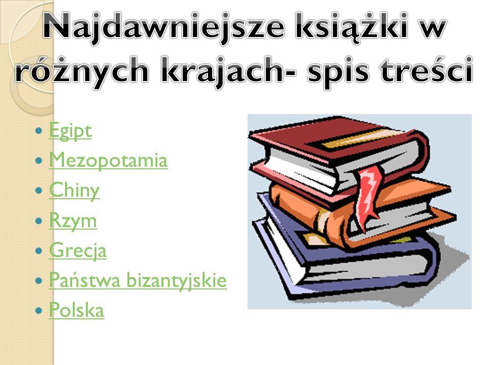 Najdawniejsze książki w różnych krajach- spis treści