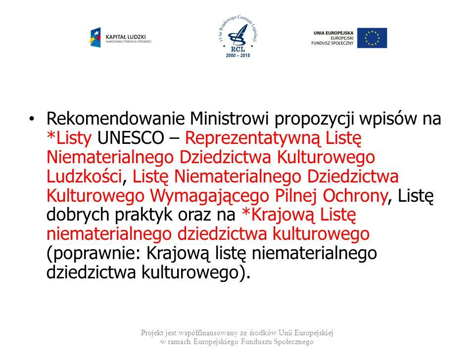 Rekomendowanie Ministrowi propozycji wpisów na