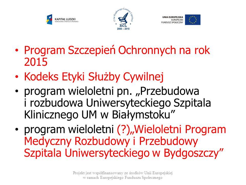 Program Szczepień Ochronnych na rok 2015 Kodeks Etyki Służby Cywilnej