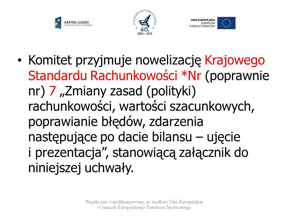Komitet przyjmuje nowelizację Krajowego Standardu Rachunkowości