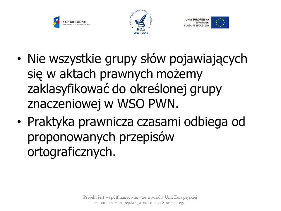 Nie wszystkie grupy słów pojawiających się w aktach prawnych możemy zaklasyfikować do określonej grupy znaczeniowej w WSO PWN.