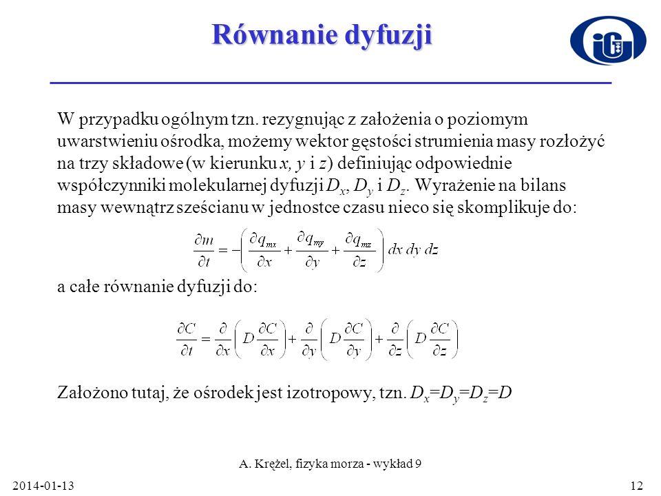 A. Krężel, fizyka morza - wykład 9