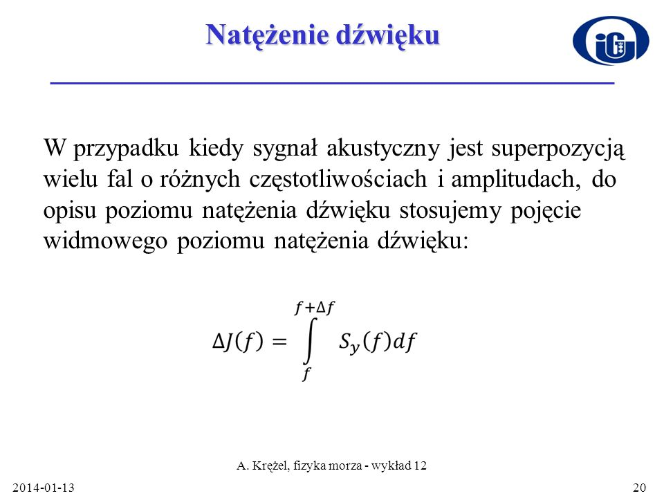 A. Krężel, fizyka morza - wykład 12