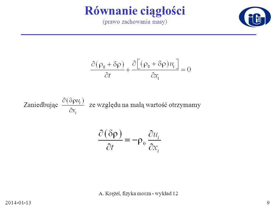 Równanie ciągłości (prawo zachowania masy)