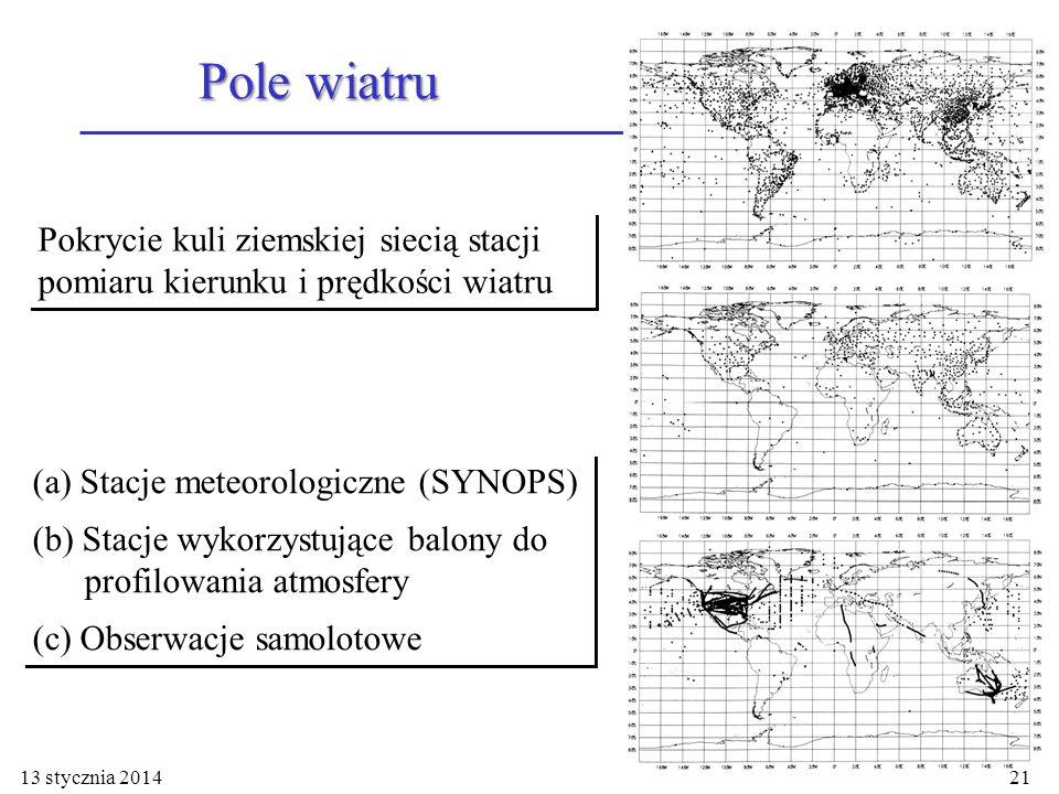Pole wiatru Pokrycie kuli ziemskiej siecią stacji pomiaru kierunku i prędkości wiatru. (a) Stacje meteorologiczne (SYNOPS)