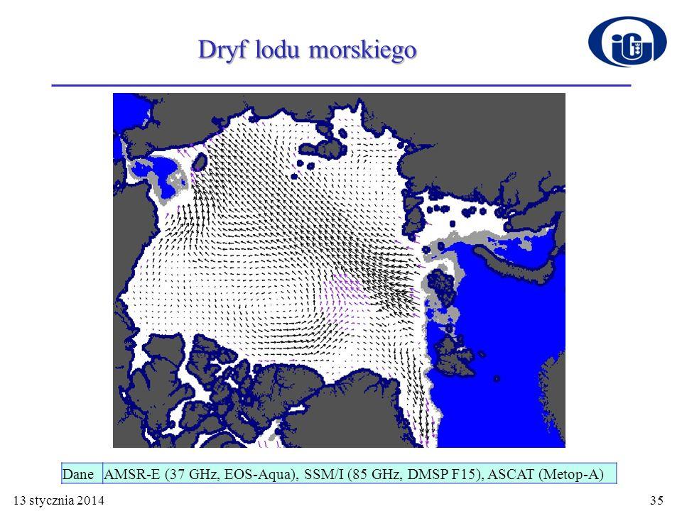 Dryf lodu morskiego Dane