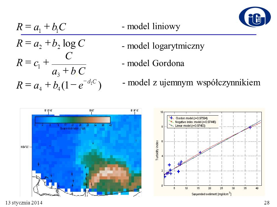 R a b C c e = + - log ( ) - model liniowy - model logarytmiczny