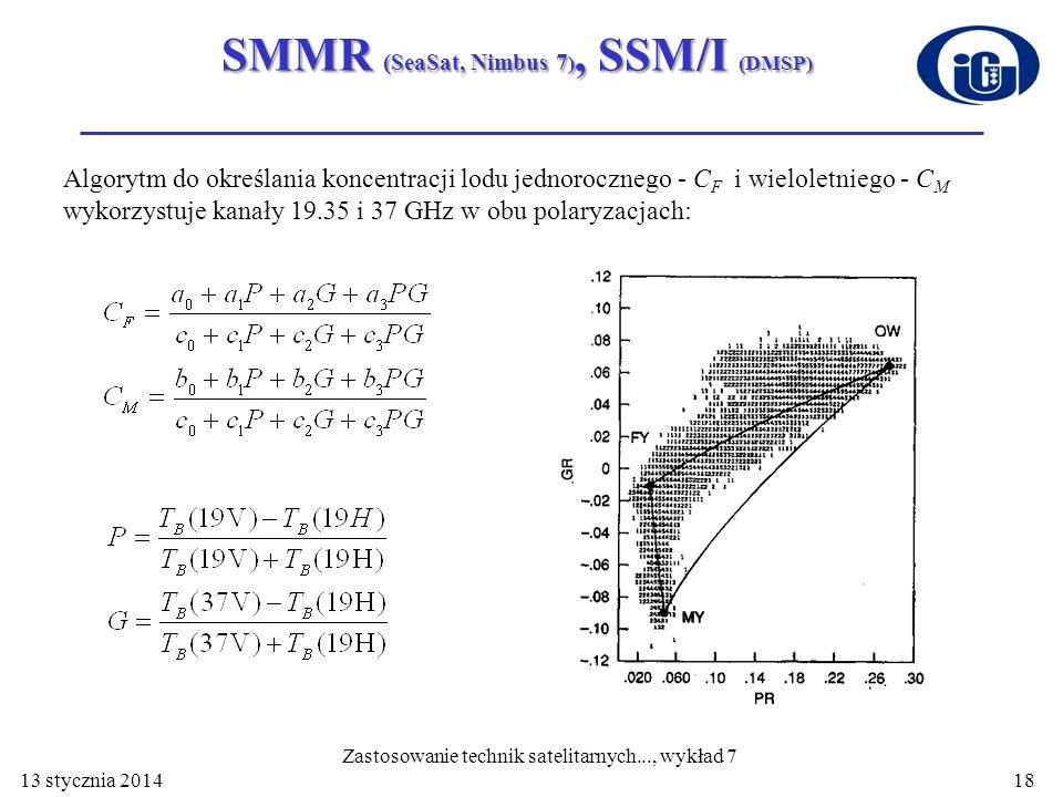 SMMR (SeaSat, Nimbus 7), SSM/I (DMSP)