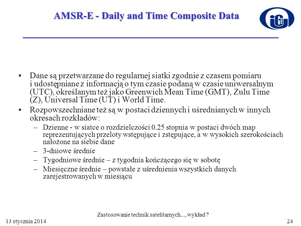 AMSR-E - Daily and Time Composite Data