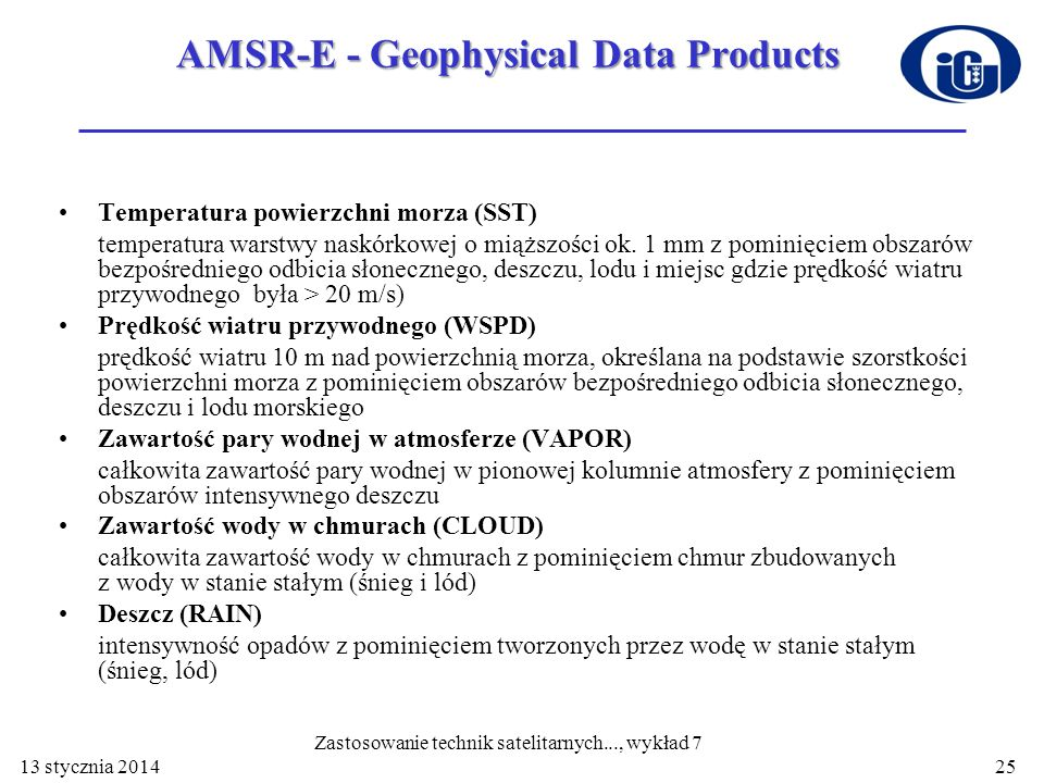 AMSR-E - Geophysical Data Products