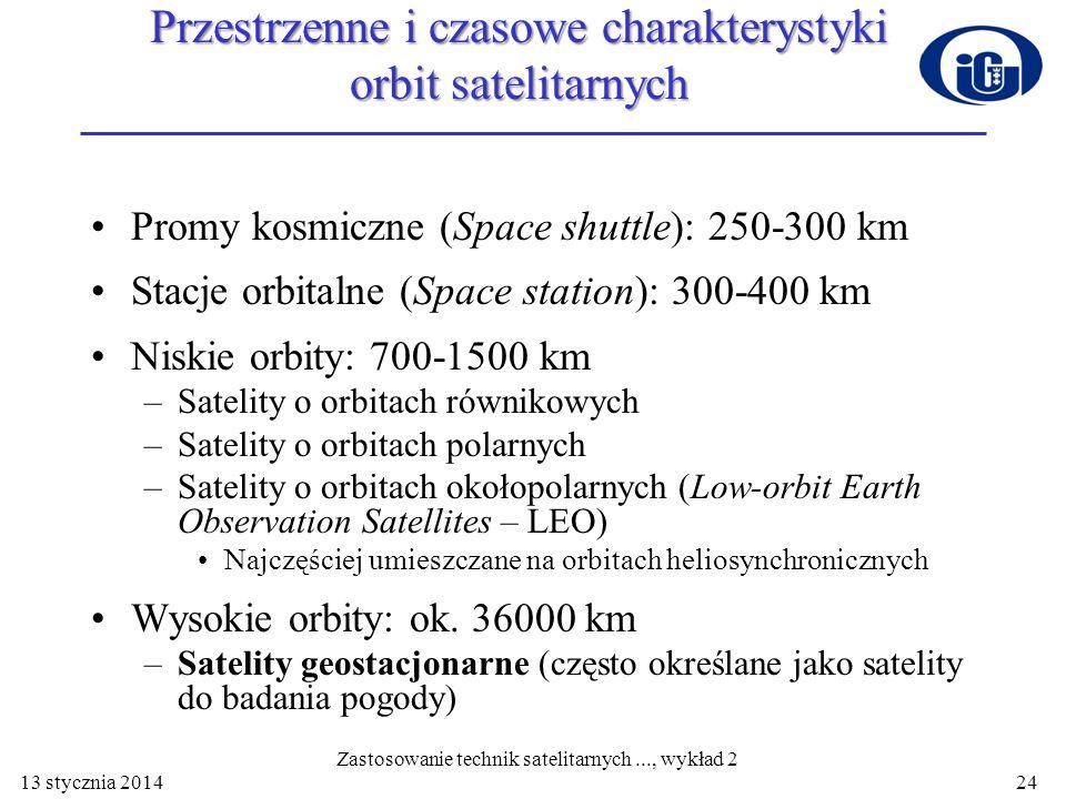 Przestrzenne i czasowe charakterystyki orbit satelitarnych