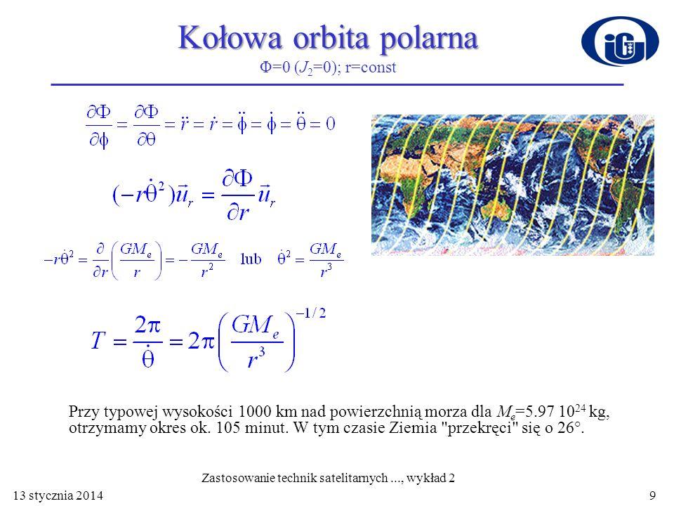 Kołowa orbita polarna Φ=0 (J2=0); r=const