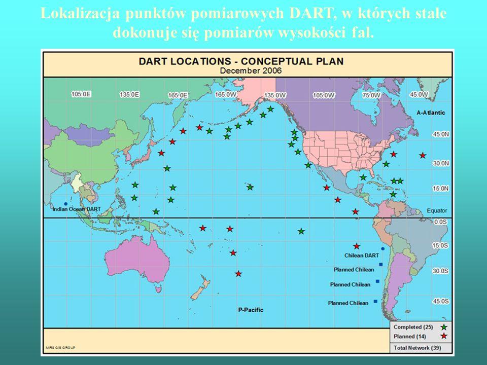 Lokalizacja punktów pomiarowych DART, w których stale dokonuje się pomiarów wysokości fal.