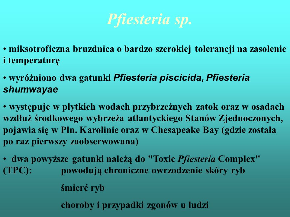 Pfiesteria sp. miksotroficzna bruzdnica o bardzo szerokiej tolerancji na zasolenie i temperaturę.