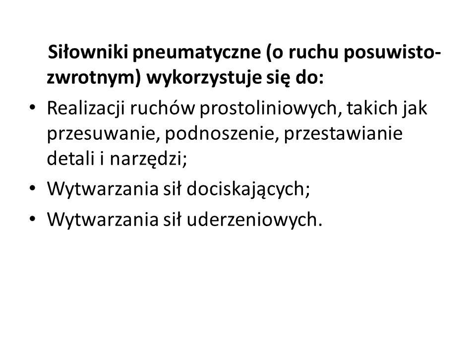 Siłowniki pneumatyczne (o ruchu posuwisto-zwrotnym) wykorzystuje się do: