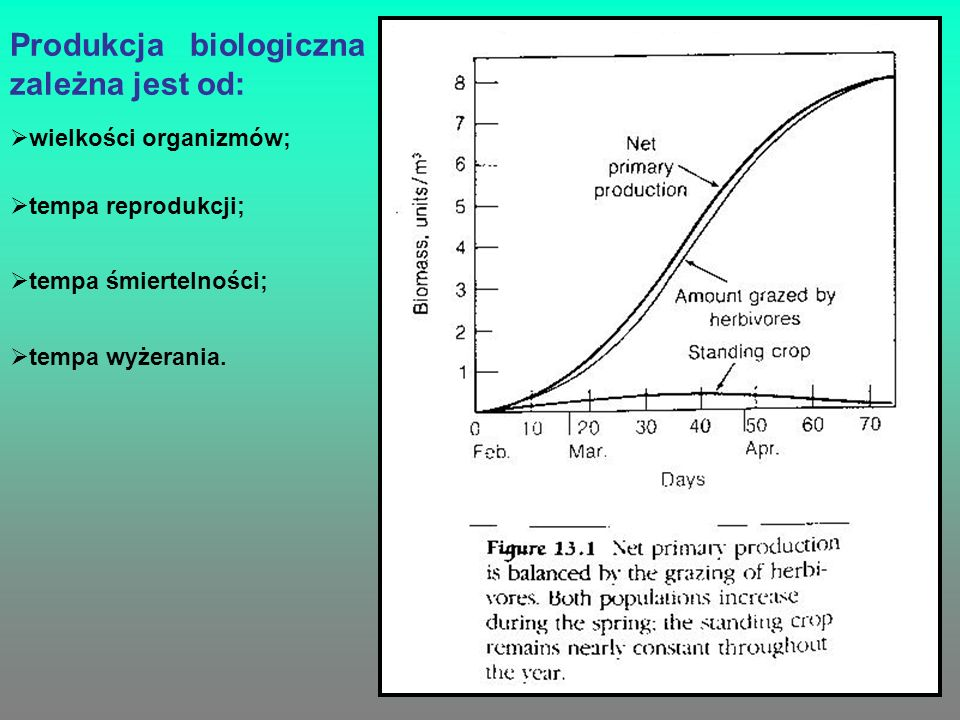 Produkcja biologiczna zależna jest od: