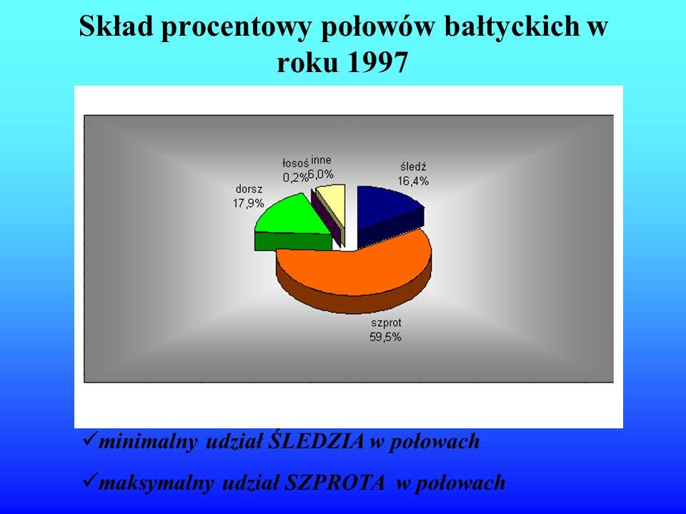 Skład procentowy połowów bałtyckich w roku 1997