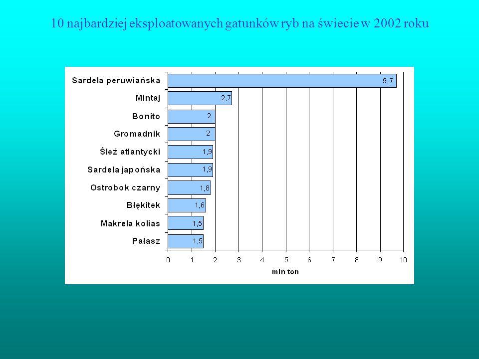 10 najbardziej eksploatowanych gatunków ryb na świecie w 2002 roku