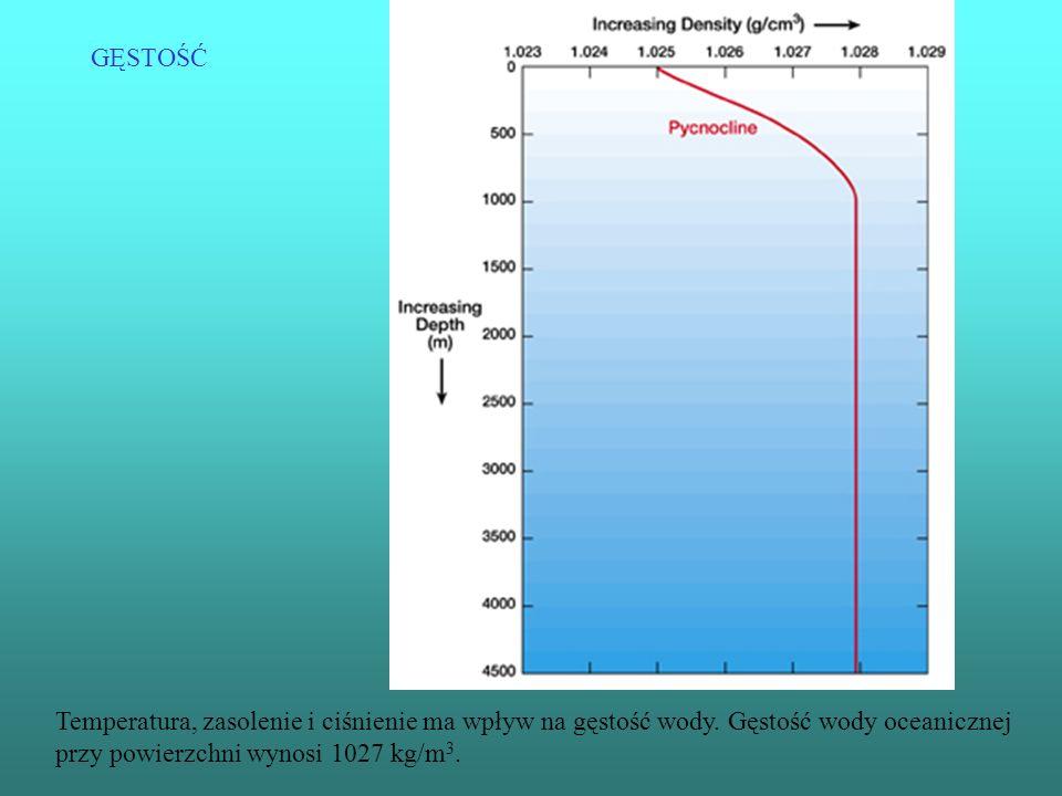 GĘSTOŚĆ Temperatura, zasolenie i ciśnienie ma wpływ na gęstość wody.