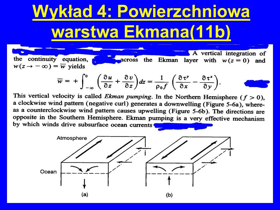 Wykład 4: Powierzchniowa warstwa Ekmana(11b)