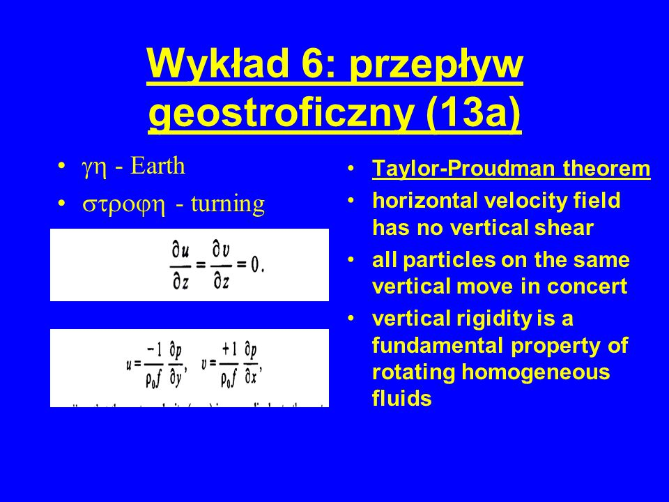 Wykład 6: przepływ geostroficzny (13a)