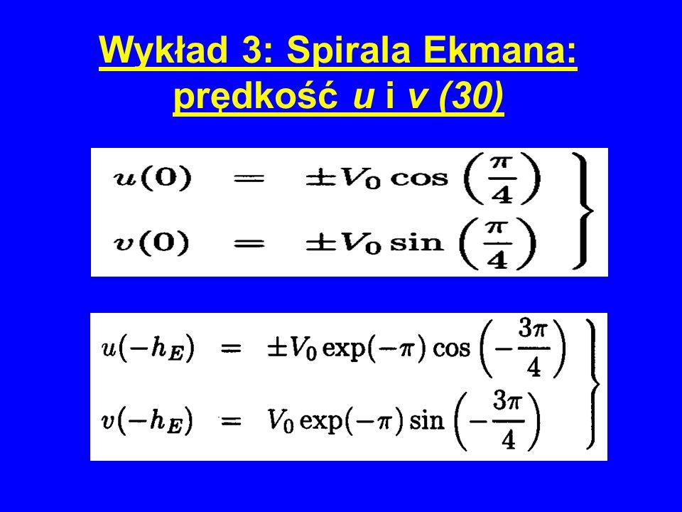 Wykład 3: Spirala Ekmana: prędkość u i v (30)